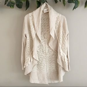 Anthropologie • Knitted & Knotted Fringe Cardigan